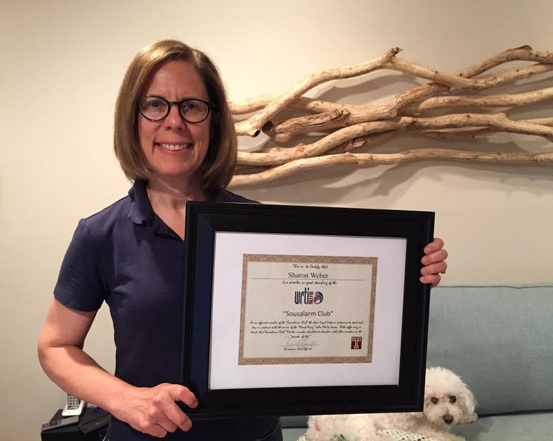 This is Sharon Weber from Coopersburg, PA.  She has framed her Sousalarm membership certificate, which really shows her dedication to the club.