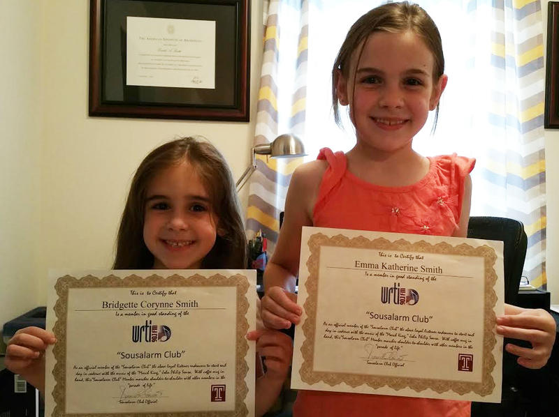 Bridget and Emma, from Monmouth Junction, NJ, are two very proud and excited members of the Sousalarm Club.