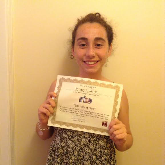 Sydney, from Merion Station, PA, loves listening to the Sousalarm and is to so happy to be a member of the club.