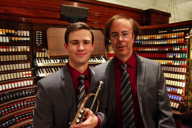 Flugelhornist Andrew Ennis and Wanamaker Grand Court Organist Peter Richard Conte.