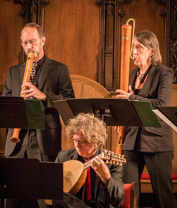 Robert Wiemken, Grant Herreid, and Joan Kimball of Piffaro