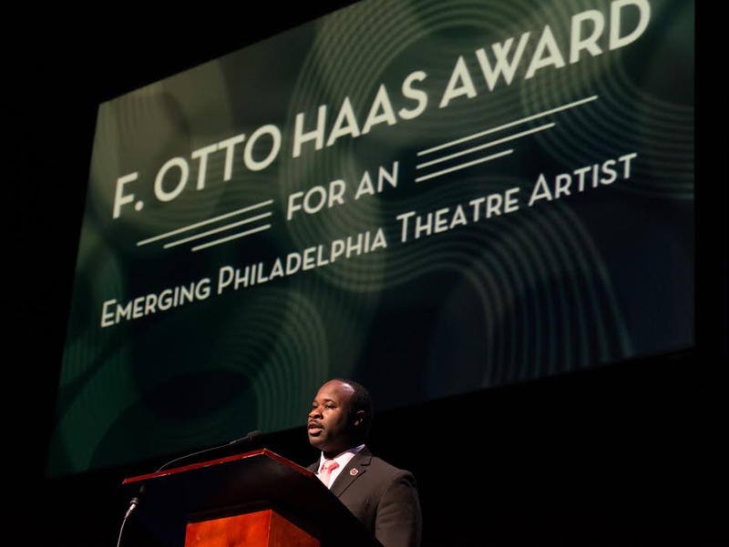 Akeem Davis accepting the 2015 F. Otto Haas Award for emerging theater artists in Philadelphia.