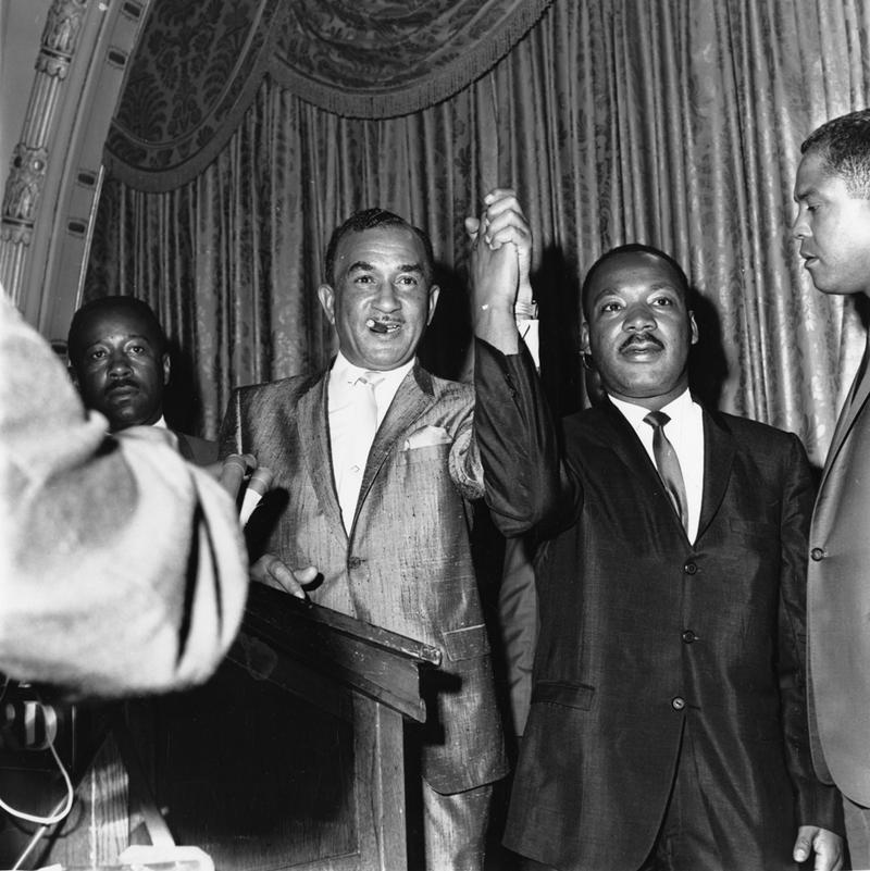 Philadelphia civil rights activist Cecil B. Moore and Martin Luther King, Jr. in 1965 during the struggle to desegregate Girard College in North Philadelphia.