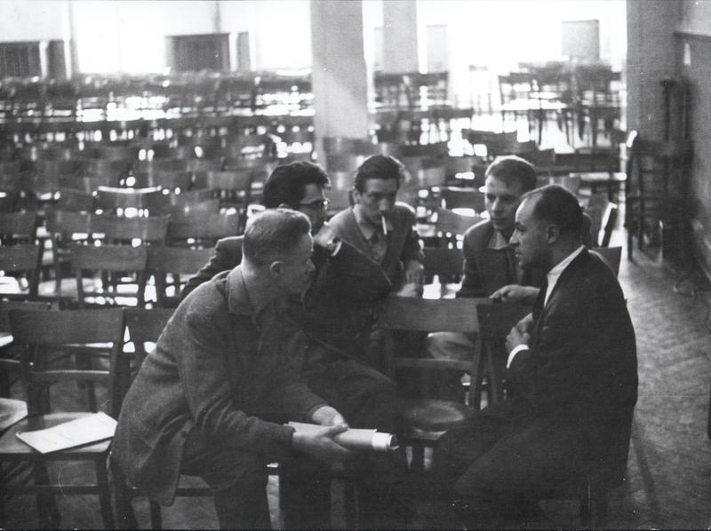 Composer Henri Pousseur, pianist David Tudor, music critic and theorist  Heinz-Klaus Metzger, composer Karlheinz Stockhausen and composer Pierre Boulez in Darmstadt, 1956.
