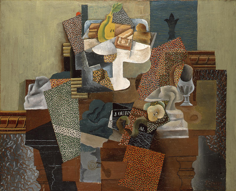 """Pablo Picasso (Spanish, 1881 - 1973), Still Life with Compote and Glass [Nature morte au compotier et verre], 1914–15. Oil on canvas. 25 x 31"""" 1931.087. Columbus Museum of Art, Columbus, OH"""