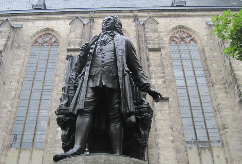 J.S. Bach statue in front of the Thomaskirche in Leipzig, Germany, where Bach worked for most of his life.
