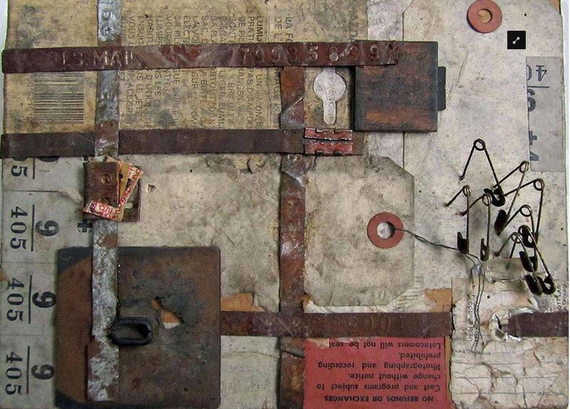 Janet Mikolajczyk, SAFETY PINS, found paper, metal, wood