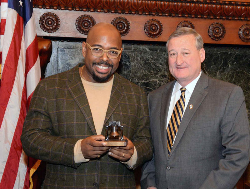 Christian McBride with Mayor Jim Kenney at City Hall on March 28, 2016