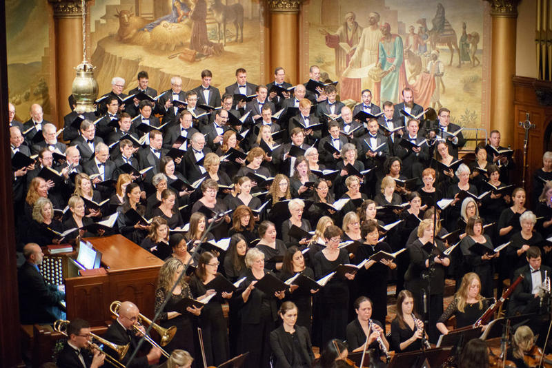 Mendelssohn Club chorus and Symphony in C orchestra during performance of Mozart Mass in C minor, Season opening, October 18, 2015 at The Church of the Holy Trinity, Rittenhouse Square, Philadelphia