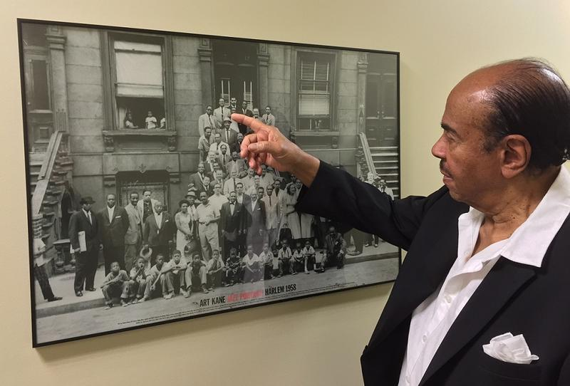 "Golson points himself out in the famous 1958 photograph ""A Great Day in Harlem"" taken of 57 notable jazz musicians in front of a brownstone in Harlem."