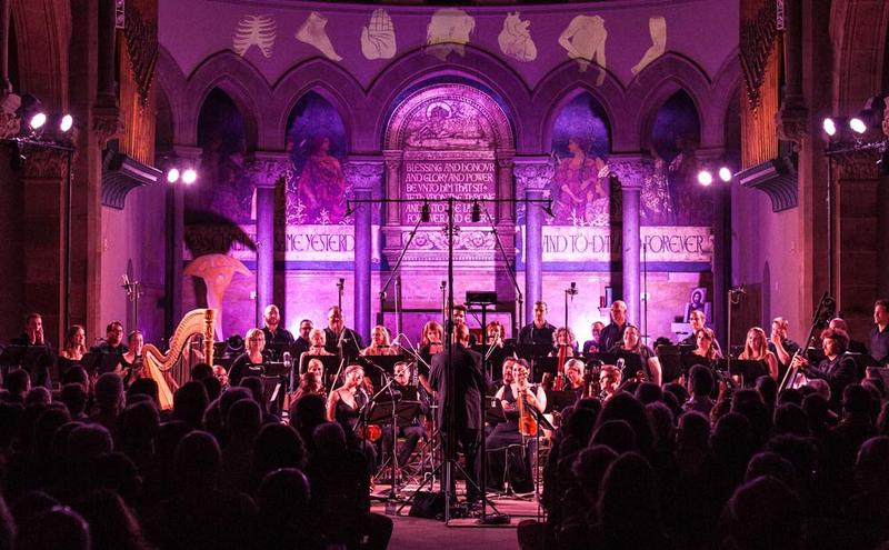 The Crossing in performance with Quicksilver Baroque and Claire Chase's International Contemporary Ensemble (ICE) at Philadelphia Episcopal Cathedral in June, 2016