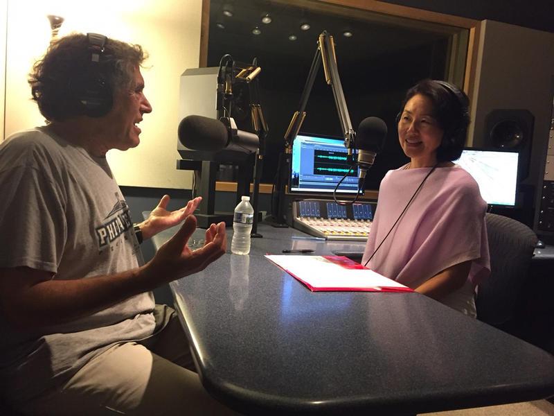 WRTI's Debra Lew Harder interviewing Klezmer scholar Hankus Netsky at WRTI.