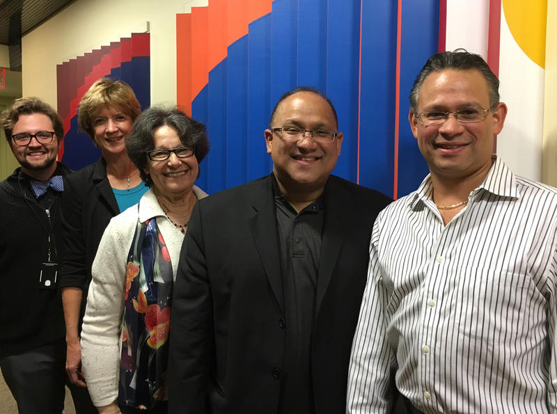 (left to right) Mike Hogue, marketing and communications manager of The Chamber Orchestra of Philadelphia; WRTI's Susan Lewis; executive director of Taller Puertorriqueño, Carmen Febo-San Miguel; Ricardo Morales; Jesus Morales at WRTI.