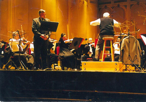 "Dave narrating ""Peter and the Wolf"" at the Academy of Music as Wolfgang Sawallisch led The Philadelphia Orchestra in rehearsal"