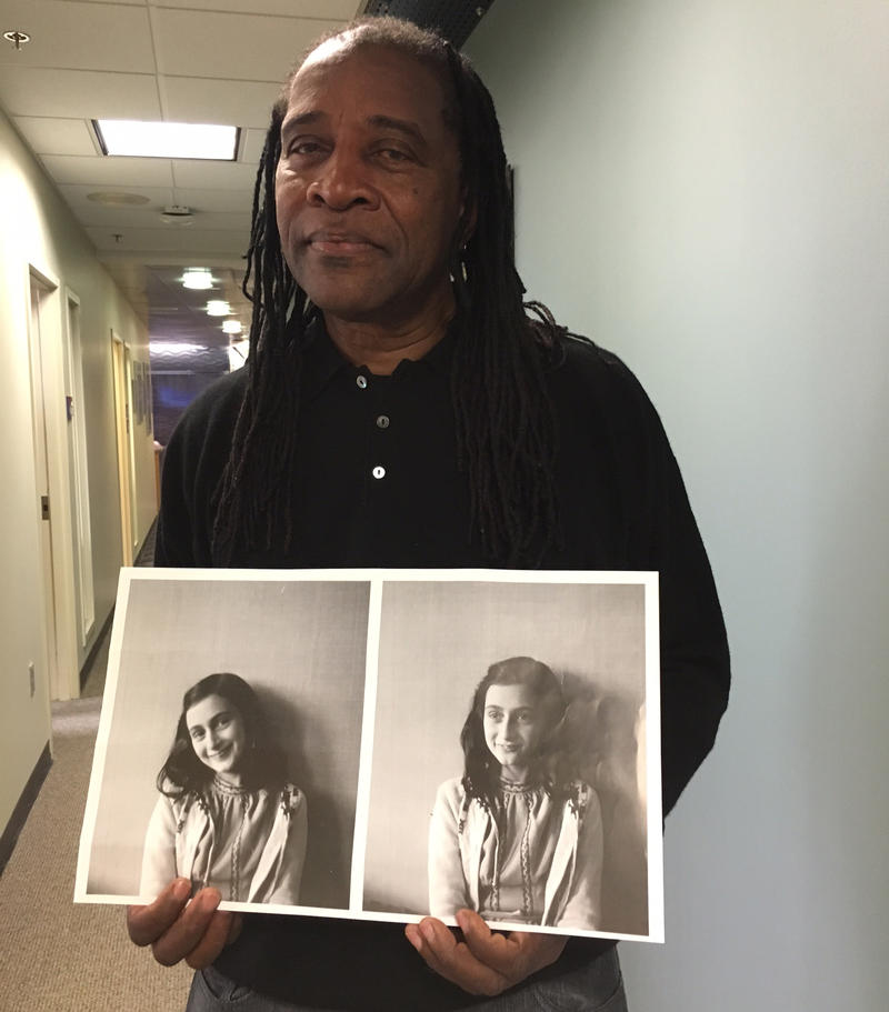 Hannibal Lokumbe with photos of Anne Frank