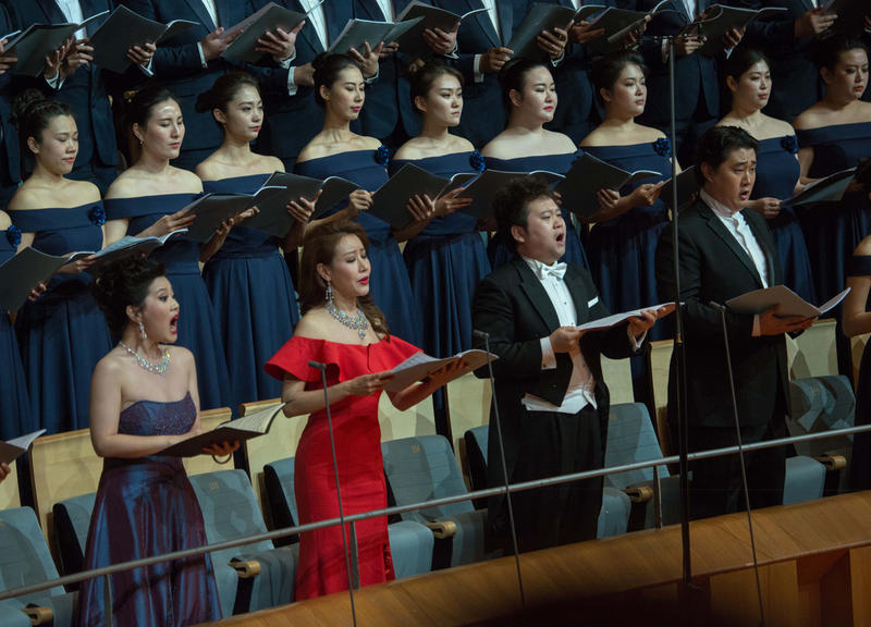 Soloists from the National Centre for the Performing Arts (NCPA) Chorus in Beijing perfom with the Philadelphia Orchestra conducted by Yannick Nezet-Seguin on May 31, 2017.
