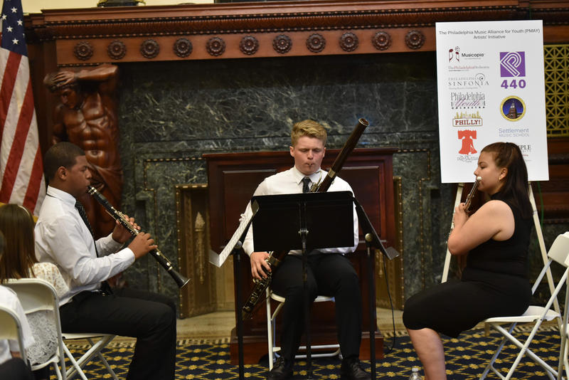 PMAY Artists' Initiative performance at City Hall. (left to right)  Marquise Bradley, clarinet; David Hiester, bassoon; Malinda Voell, flute.