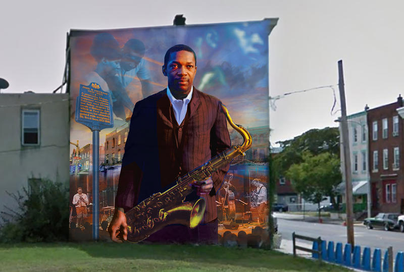 The new John Coltrane mural at 29th and Diamond streets in North Philadelphia, designed by artist Ernel Martinez
