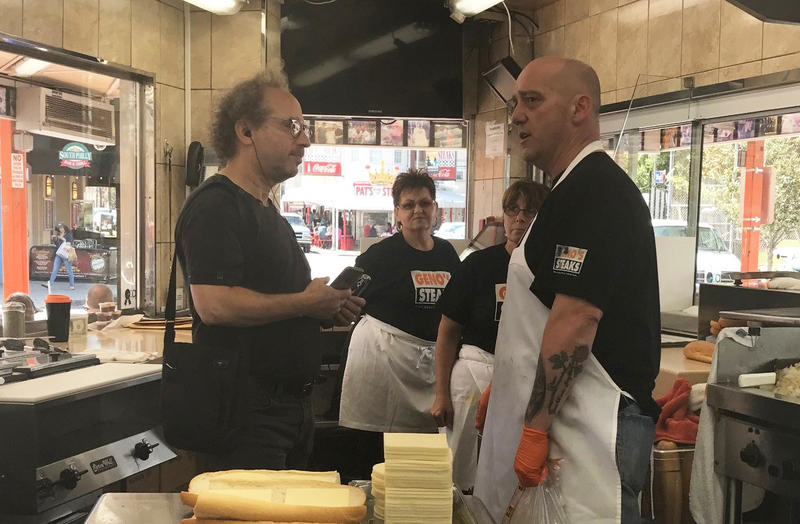 Composer Tod Machover collecting sound from Geno's Steaks for his Philadelphia Orchestra commission. He also recorded sound at Pat's King of Steaks.
