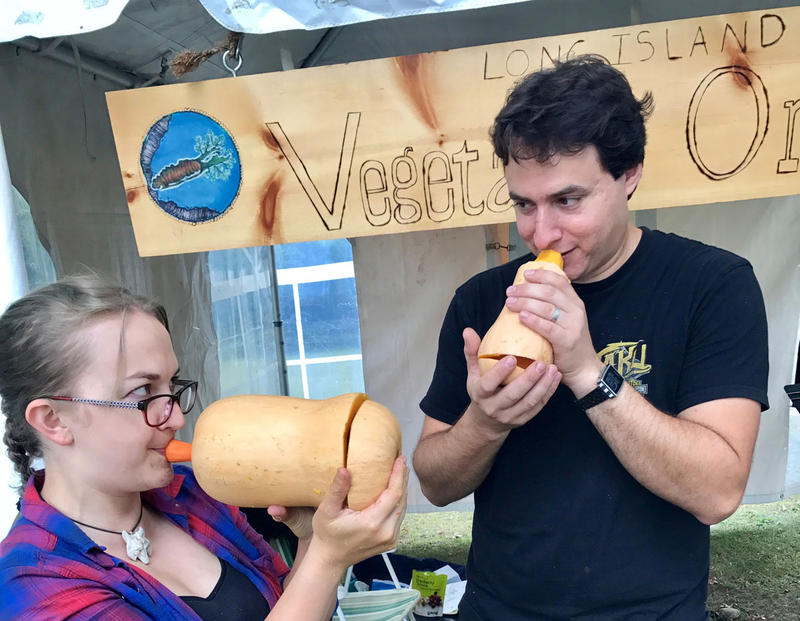 The Long Island Vegetable Orchestra includes squash horn players Jennifer Merke and Dan Battaglia. Dan is also music director of the ensemble.