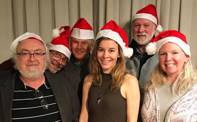 WRTI 90.1 hosts (left to right): Jack Moore, Bob Craig, Kevin Gordon, Courtney Blue, Bliss Michelson, Maureen Malloy