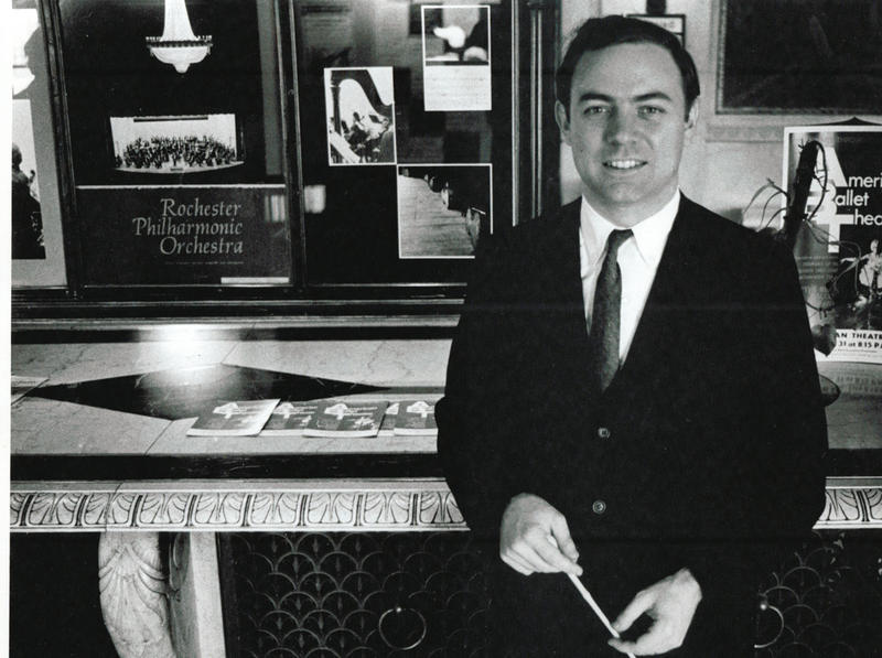 Composer Samuel Jones circa 1965 in the lobby of the Eastman Theatre shortly after he was named assistant conductor of the Rochester Symphony Orchestra.