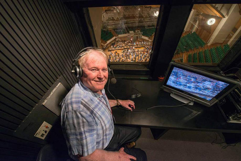 Gregg Whiteside in broadcast booth before the Orchestra's 2016 concert at the Hong Kong Cultural Centre