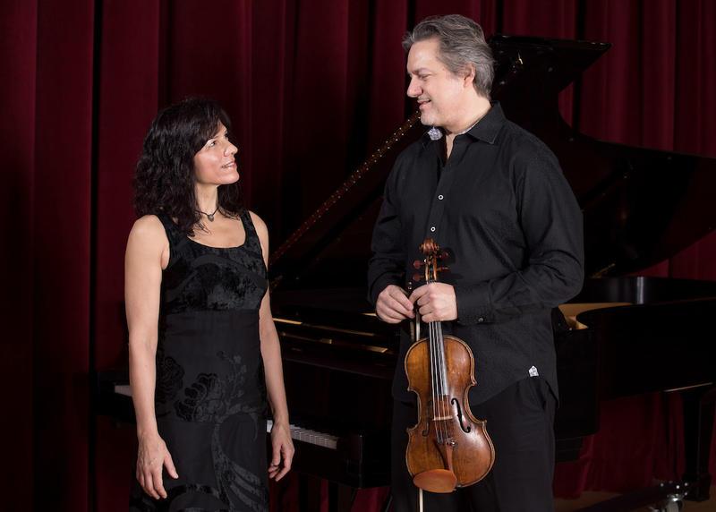Steinway Artist Maria Asteriadou and her husband, violinist Kurt Nikkanen