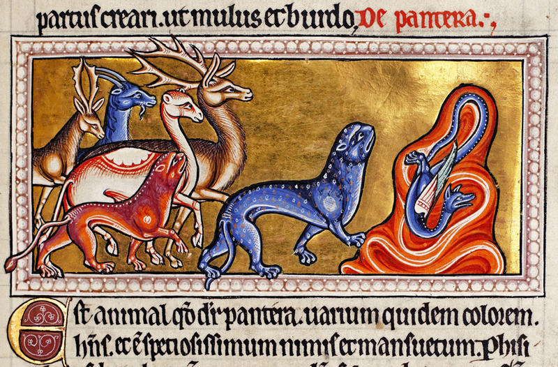 A page from a bestiary, created in the Middle Ages