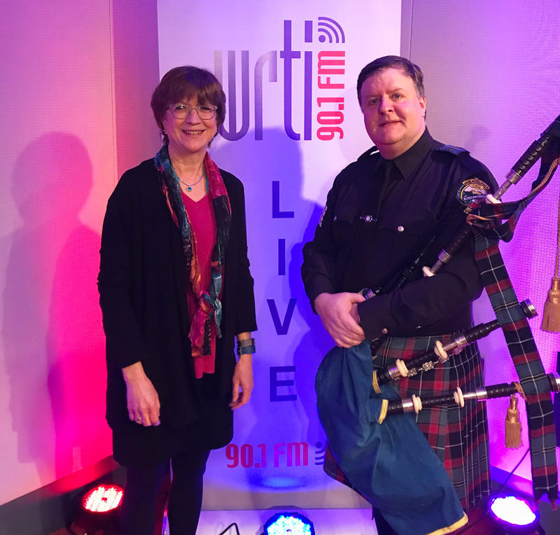 WRTI's Susan Lewis in the Performance Studio with Pipe Major Mark O'Donnell, of Philadelphia Police and Fire Pipes & Drums