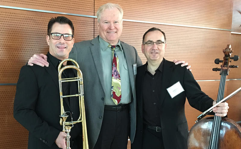 Philadelphia Orchestra Principal Trombone Nitzan Haroz (left), WRTI 90.1's Gregg Whiteside, and Orchestra Cellist Ohad Bar-David at the press conference announcing the Orchestra's 2018 Tour.