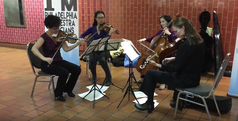 Musicians of the Philadelphia Orchestra participating in BACH IN THE SUBWAYS, 2017 at SEPTA's Jefferson Station. Musicians (left to right): Barbara Govatos, violin; Julia Li, violin; Yumi Kendall, cello; and Kerri Ryan, viola.
