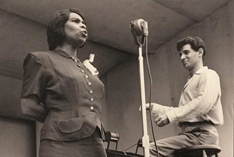 Leonard Bernstein conducting Marian Anderson at the now demolished Lewisohn Stadium at City College of New York, 1947