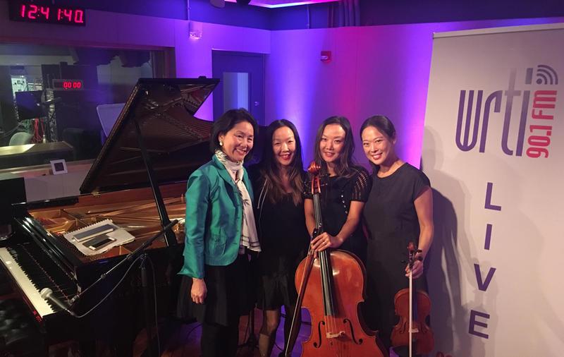 Left to right: WRTI's Debra Lew Harder, pianist Lucia Ahn, cellist Maria Ahn, and violinist Angella Ahn