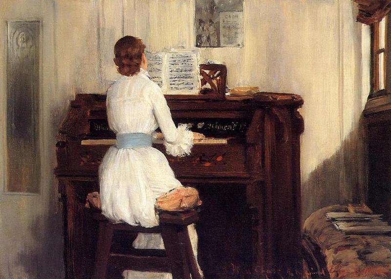 The Harmonium: Mrs. Meigs at the Piano Organ, William Merritt Chase, 1883