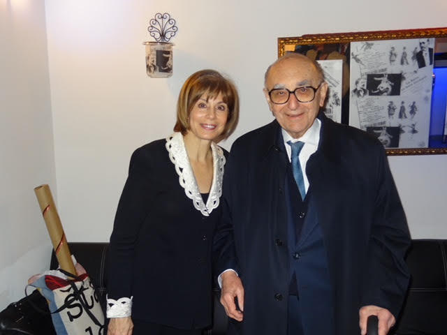 Conductor JoAnn Falletta with Dr. Enrico Mihich in 2008. Marcel Tyberg was Mihich's music teacher in northern Italy before the Holocaust.