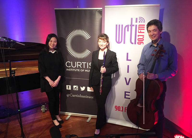 Pianist Hanchien Lee, flutist Mimi Stillman, and cellist Thomas Kraines