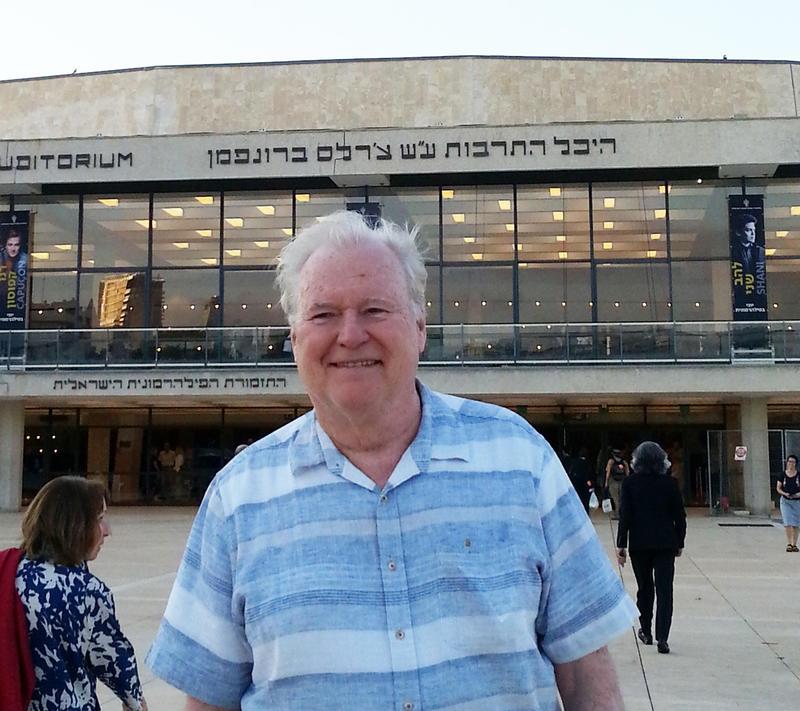 WRTI's Gregg Whiteside in front of the Charles Bronfman Auditorium in Tel Aviv where The Philadelphians performed on Monday, June 4th.
