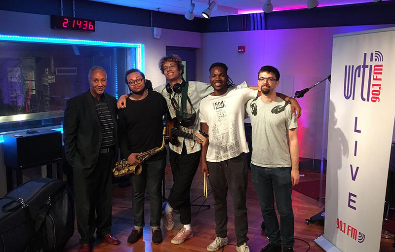 "WRTI""s J. MIchael Harrison with the Immanuel Wilkins Quartet. (left to right) J. MIchael Harrison, Immanuel Wilkins, Daryl Johns, Kweku Sumbry, and Michah Thomas"