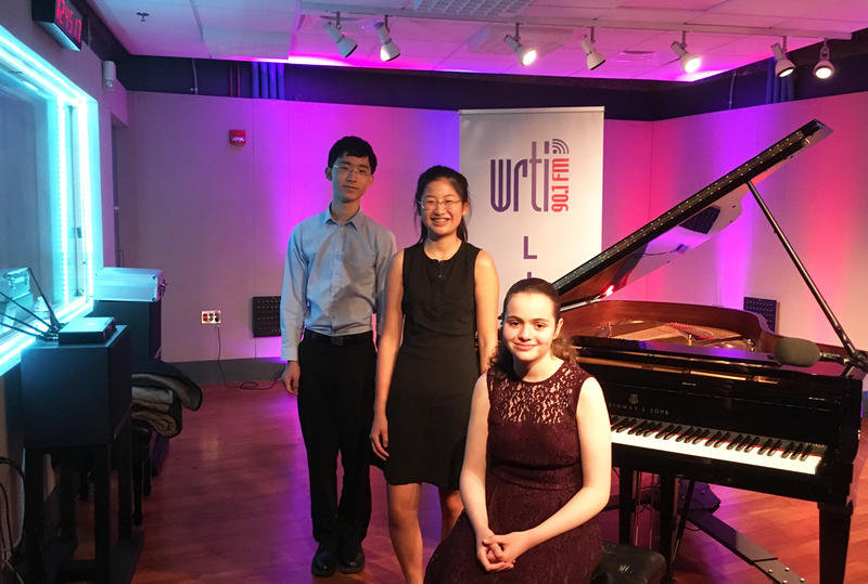 (Left to right) Pianists Chris Jung, Emma Lo, and Alyssa Gabrilovich