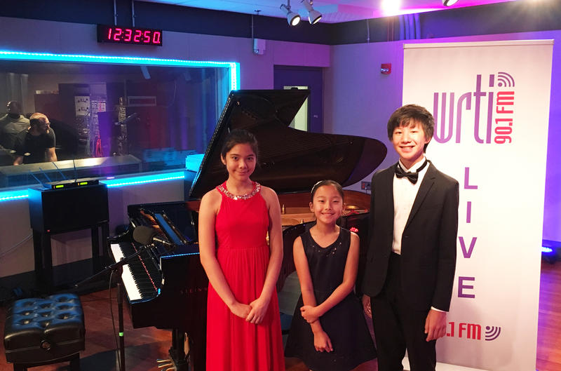 (Left to right) Pianists Petrina Steimel, Emma Liu, and Max Wang