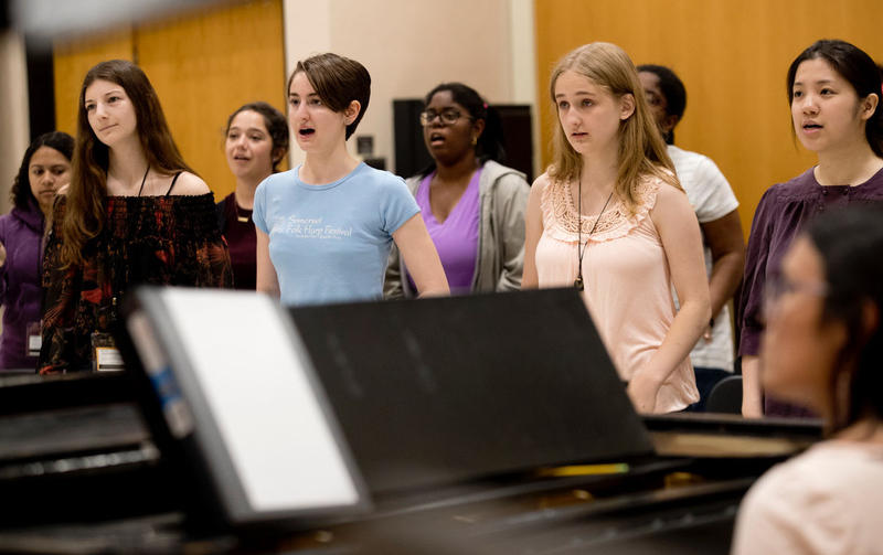 Girls from the first Young Women Composers Camp at Temple University