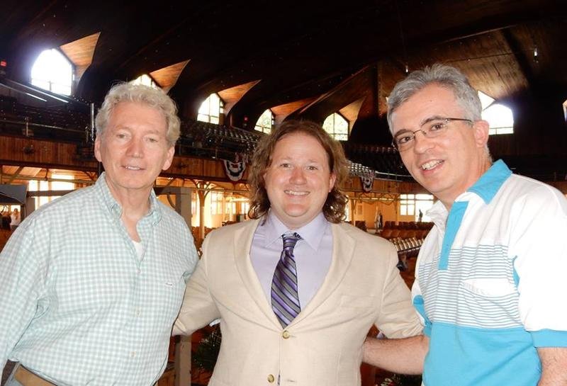 WRTI's Mark Pinto (far right) with Resident Organist Gordon Turk (left) and Festival Director Jason Tramm (center)