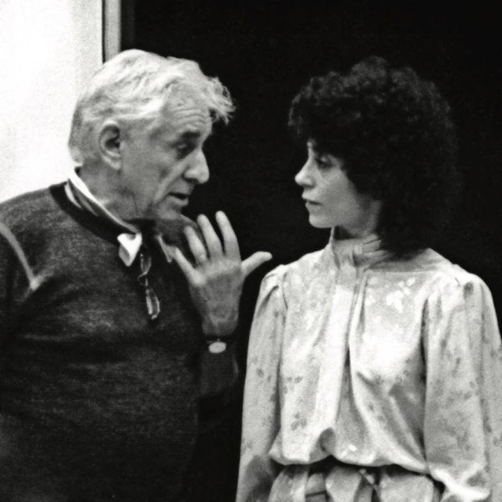 Leonard Bernstein with conductor JoAnn Falletta circa 1984