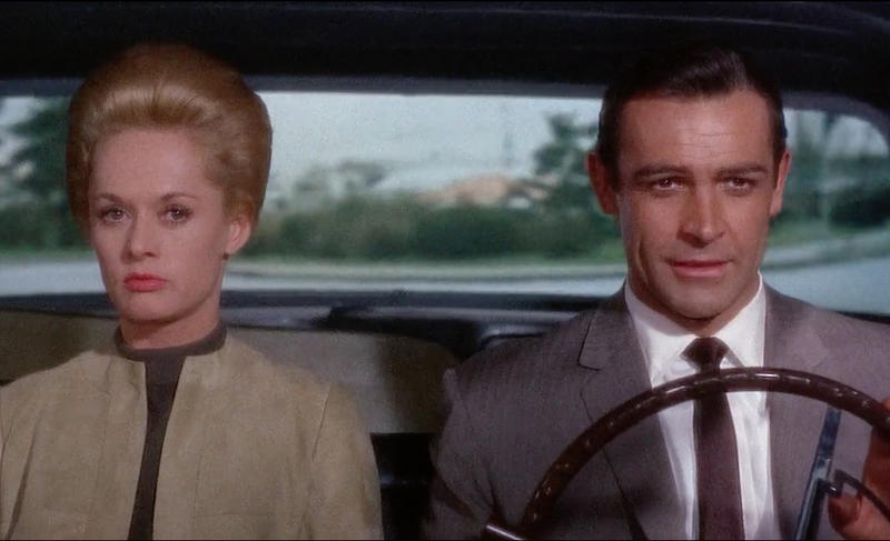 """Tippi Hedren and Sean Connery in Hitchcock's """"Marnie"""" trailer"""