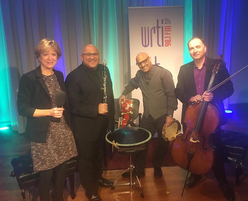 Left to right: WRTI's Susan Lewis, clarinetist Ricardo Morales, percussionist Rolando Morales-Matos, and cellist Udi Bar-David