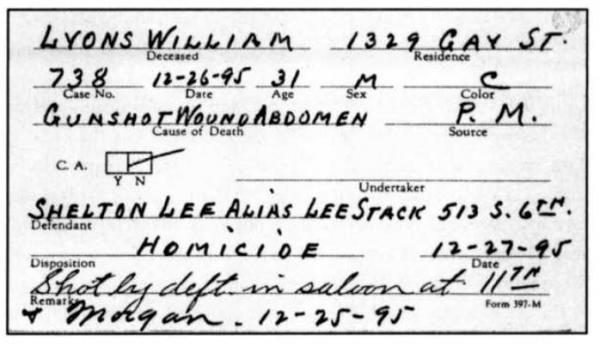 Billy Lyon's death certificate.