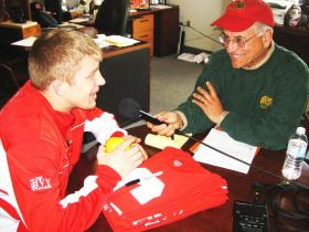 Cornell alum Jim Sollecito interviews Sports Illustrated college athlete of the year Kyle Dake.