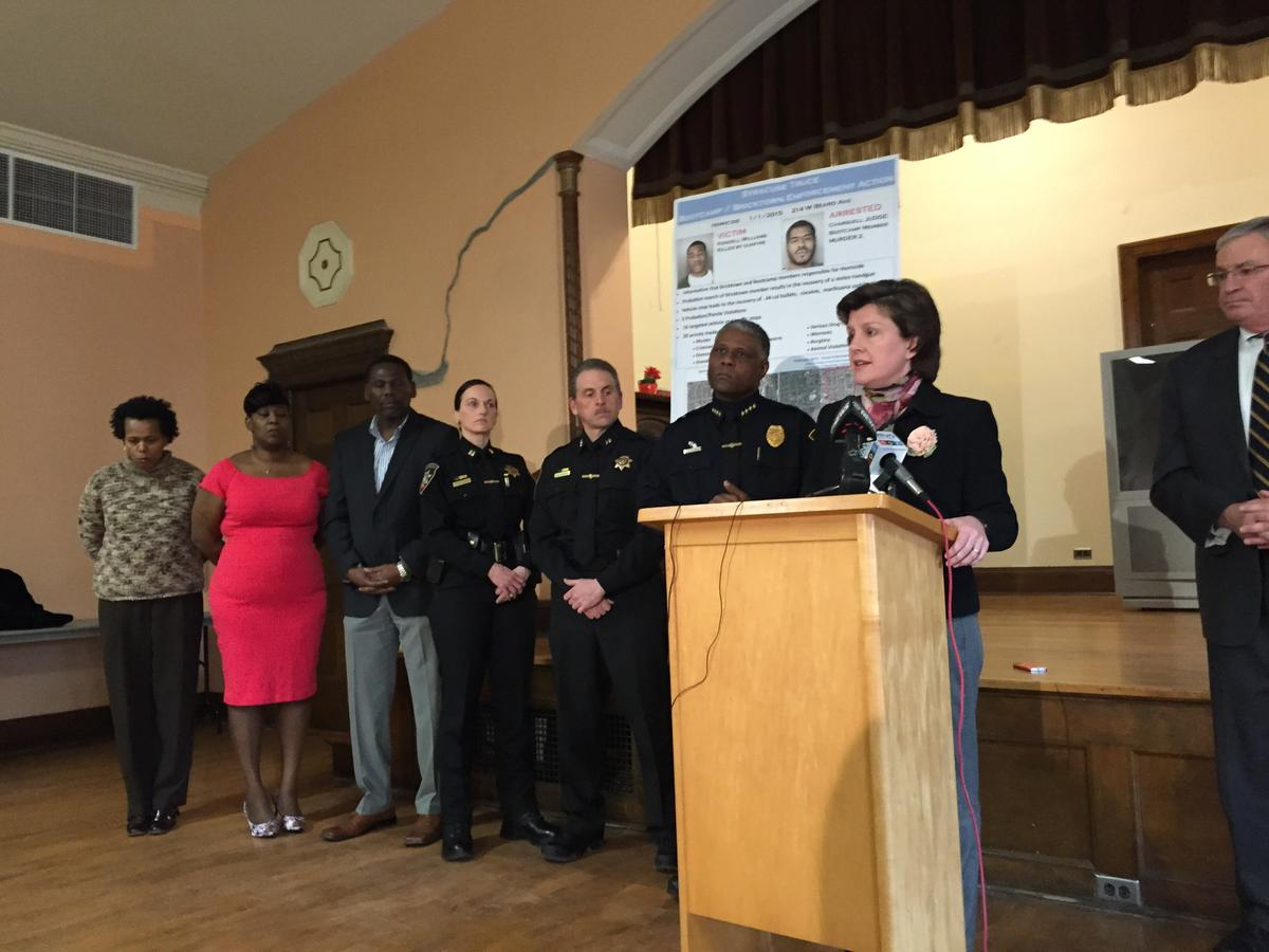 Syracuse mayor Stephanie Miner and Syracuse Police Chief Frank Fowler discuss the TRUCE program at a news conference Wednesday