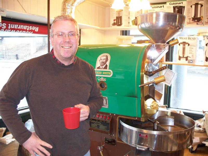 John Kupperman with coffee roaster